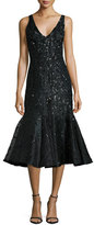 Rachel Gilbert Acacia Embellished Fluted Dress, Black