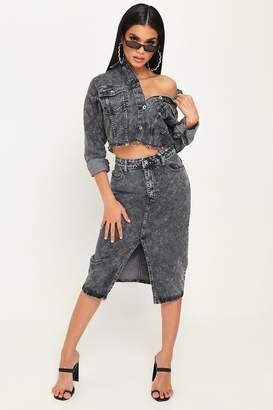 I SAW IT FIRST Vintage Wash Midi Skirt