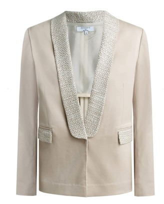Dressarte Paris Tweed-Trimmed Sustainable Wool Blazer