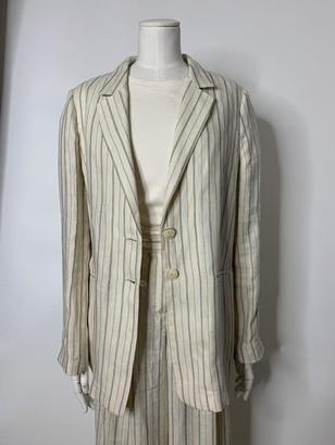 Twin-Set Twinset - Pinstripe Linen Jacket Antique White - 40/UK8