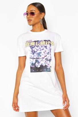 boohoo Floral Photograph Print T-shirt Dress