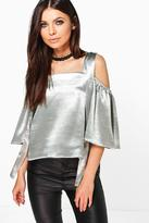 Boohoo Bethany Satin Strappy Cold Shoulder Top