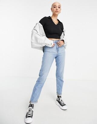 New Look long sleeve zip t-shirt in black