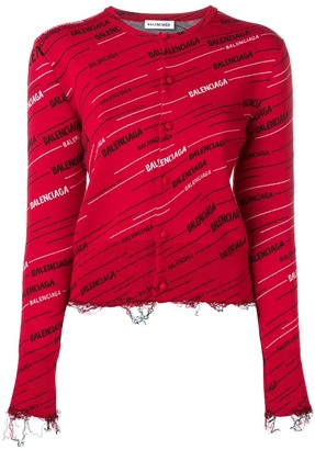 Balenciaga Distressed Logo Cardigan