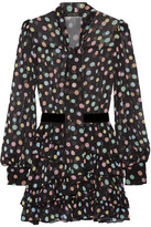 Marc Jacobs Belted Polka-dot Chiffon Mini Dress - Black