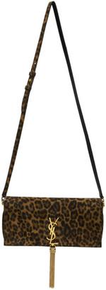 Saint Laurent Taupe Leopard Medium Kate 99 Tassel Bag