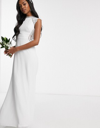 TFNC Bridal high neck maxi dress with lace insert in ivory