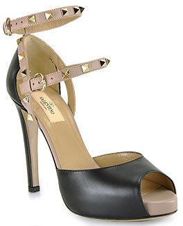 Valentino DWS00049 - Black Leather Studded Platform Sandal