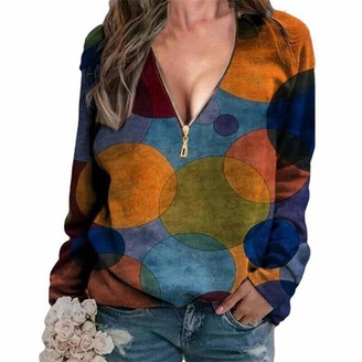 Herqw61 Womens Sexy Color Block Zipper Tunic Casual Long Sleeve Zip Pullover Tops V Neck Shirts Blouse(x_l Orange)