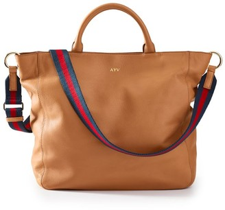 Mark & Graham Camel Tote with Red-Navy Twill Crossbody Strap Set