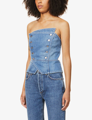 GRLFRND Florence buttoned stretch-denim bustier top