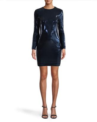 Nicole Miller Sequin Long Sleeve Mini Dress