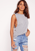Missguided High Neck Drop Armhole Tank Top Grey