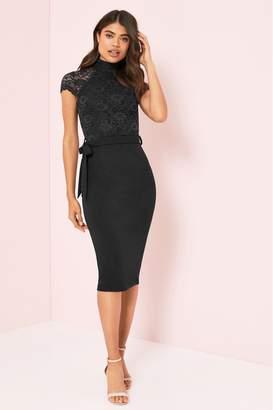 Lipsy Petite Lace High Neck Midi Dress - 6 - Black