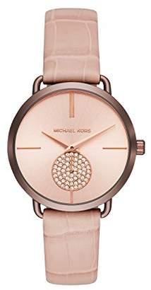 Michael Kors Women's Portia Stainless Steel Analog-Quartz Watch with Leather Calfskin Strap