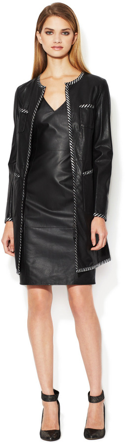 Emporio Armani Mesh Leather Striped Trim Coat
