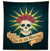 vipsung Day Of The Dead Decor Tablecloth Sugar Skull with Roses and Dia de los Muertos Print Grunge Style Art Dining Room Kitchen Rectangular Table Cover Dark Teal
