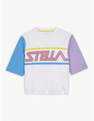Stella McCartney Sports logo cotton cropped T-shirt 4-16 years