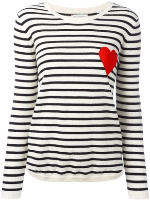 Chinti and Parker cashmere Breton stripe heart jumper