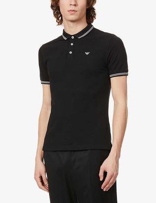 Emporio Armani Logo-embroidered stretch-cotton polo shirt