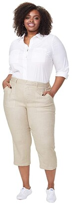 NYDJ Plus Size Plus Size Utility Pants in Stretch Linen in Feather (Feather) Women's Jeans