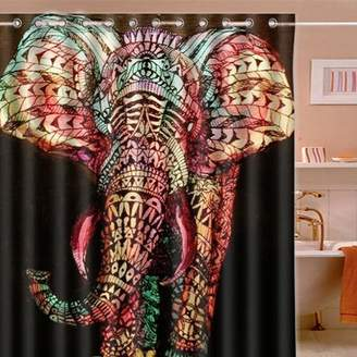 """Tapcet 65""""x71"""" Large Colorul Elephant Waterproof Bathroom Bath Shower Set Polyester Printed Shower Curtain with 12 Hooks Rings"""