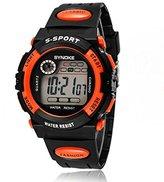 KANO BAK Boy girl Child Kids Student Digital Alarm Sports Waterproof christmas gift Watch Orange