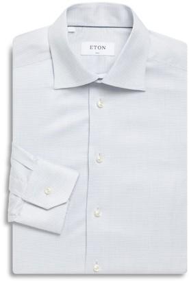 Eton Thin Gingham Print Slim-Fit Cotton Dress Shirt