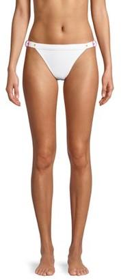 No Boundaries Juniors' White Buckle Bikini Swimsuit Bottom