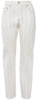 Thierry Mugler Paneled Frayed High-rise Straight-leg Jeans