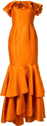 Bambah Off The Shoulder Double Ruffle Gown