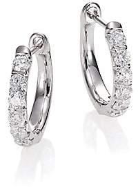 "Jude Frances Women's Jude Diamond & 18K White Gold Huggie Hoop Earrings/0.5"""