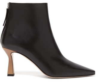 Wandler Lina Point-toe Leather Ankle Boots - Womens - Black Khaki