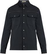 Bottega Veneta Intrecciato leather-trimmed cotton jacket