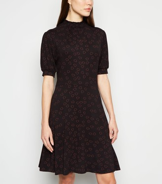 New Look Heart Print Puff Sleeve Skater Dress