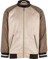 River Island Boys Beige suede look raglan bomber jacket
