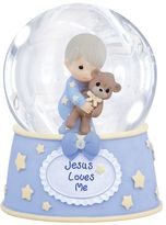 Precious Moments ''Jesus Loves Me'' Boy Holding Teddy Bear Musical Waterball