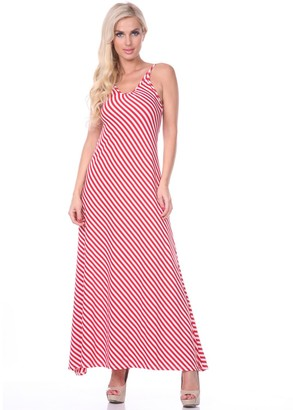 White Mark Women's Striped Maxi Dress