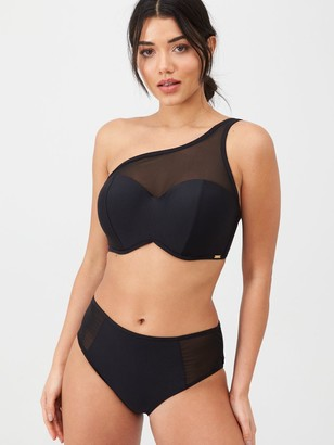 Panache Onyx One Shoulder Moulded Bikini Top - Black