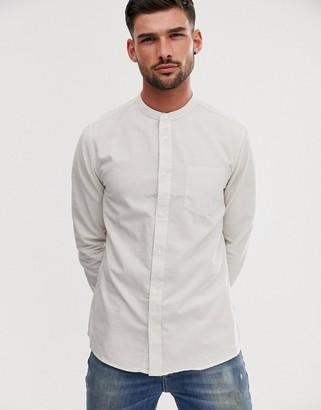 Burton Menswear grandad shirt in stone stripe