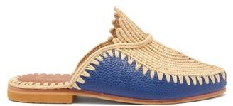 Kilometre Paris - Raffia And Leather Backless Loafers - Navy