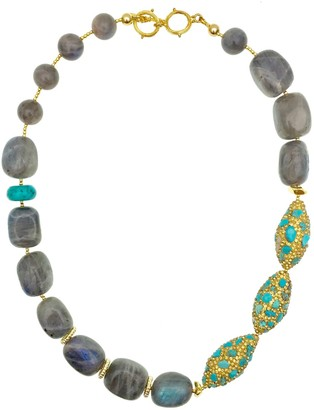 Farra Labradorite With Rhinestone Bordered Turquoise Necklace