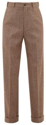 Gucci Wide-leg Wool-tweed Trousers - Mens - Brown