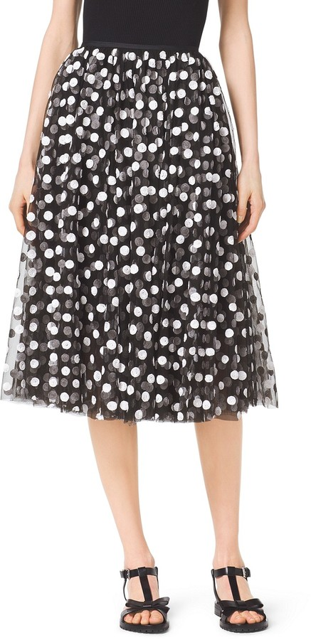 Michael Kors Polka-Dot Sequin-Embroidered Silk-Tulle Skirt