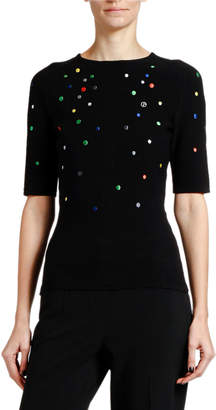 Giorgio Armani Multicolor Dotted Knit 1/2-Sleeve Sweater