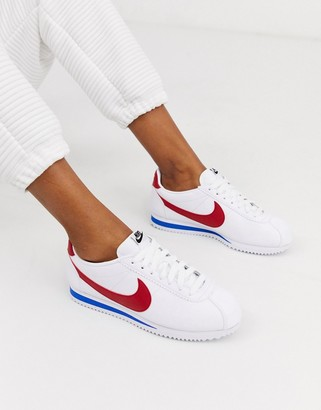 Nike White Red And Blue Classic Cortez Retro Leather Sneakers