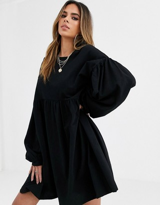Asos Design DESIGN Long sleeve oversized smock mini dress