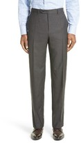 Canali Men's Flat Front Check Wool Trousers