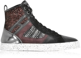 Hogan R141 Smooth Leather and Suede wi/Tweed and Glitter Fabric High-top Women's Sneakers