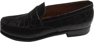 Jm Weston Black Crocodile Flats